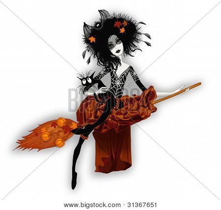 A witch on a broomstick