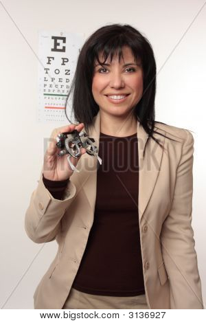 Optometrist With Trial Frames