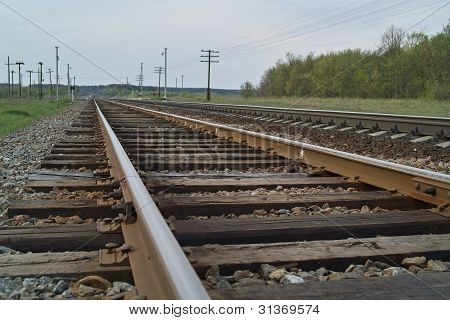 Railway Line In Evening