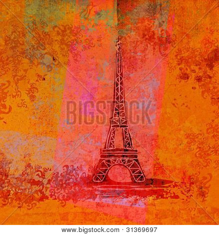 vintage retro Eiffel in Paris  card , raster
