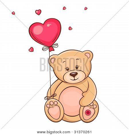 Cute teddy bear with red heart balloon