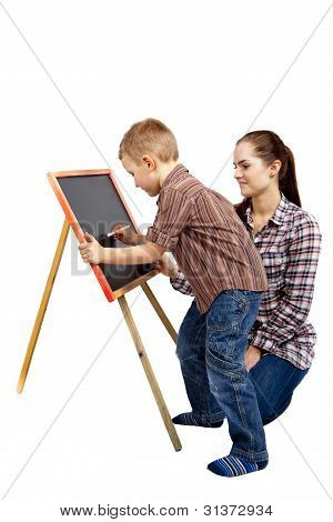 boy, woman and blackboard