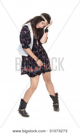 Imagem de uma menina jovem Hippie