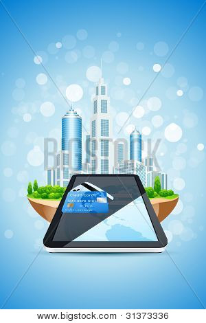 Blue Background With City Island Credit Card And Tablet Pc