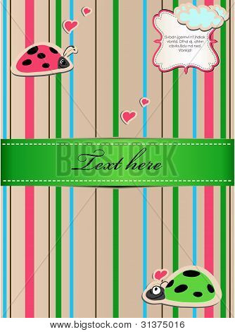 A striped sticker with ladybugs in love