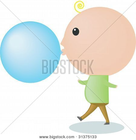 A Big-headed Boy Is Blowing A Bubble Gum