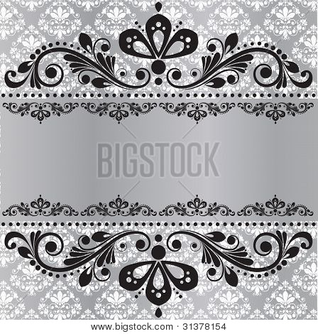 Elegant vintage damask vector invitation template