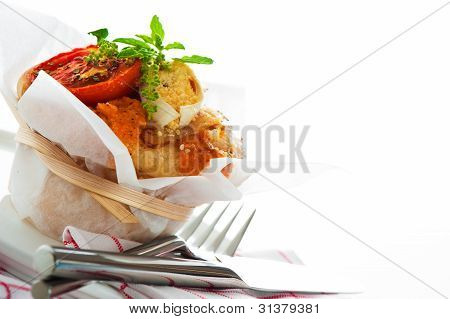 Fresh Pizza Muffin As A Snack On White Background As A Studio Shot
