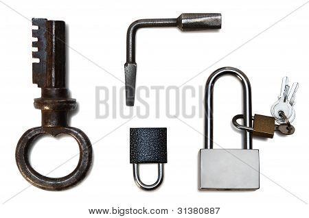 vydelnnye locks and keys on a white background