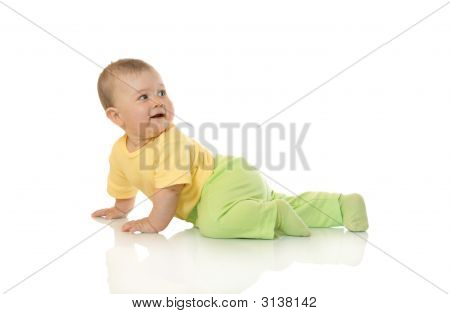 Creeping Small Baby Isolated