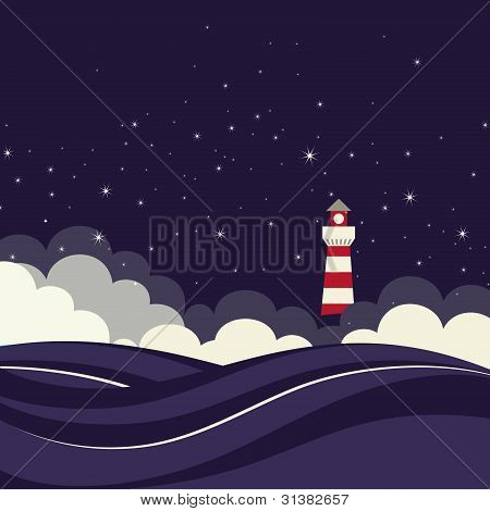 Lighthouse in night sea.