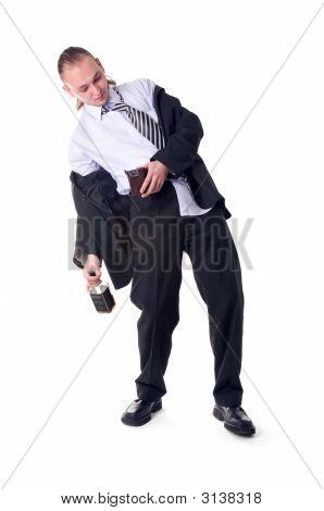 Drunk Businessman Shocked By Empty Wallet