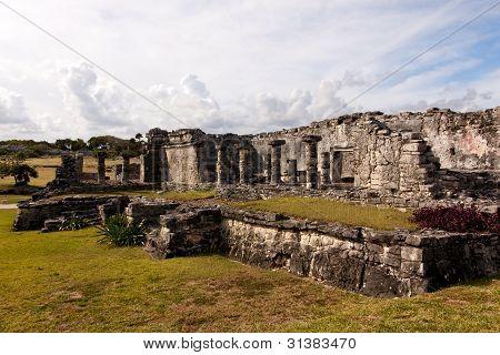 Large Mayan Building At Tulum