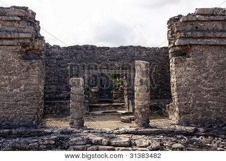 Remains Of A Mayan Portal At Tulum