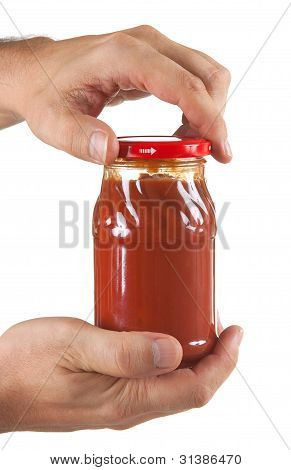 Jar Tomato Paste In Hand