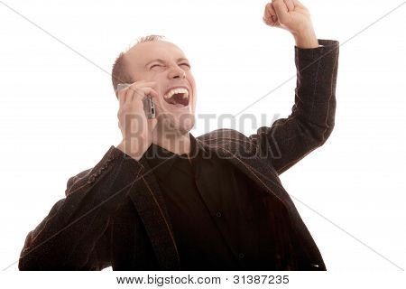 happy expressive businessman