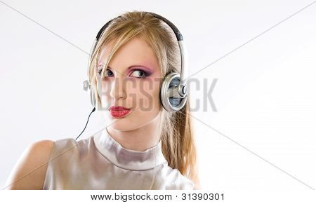 Beautiful Electro Pop Girl In Headphones.