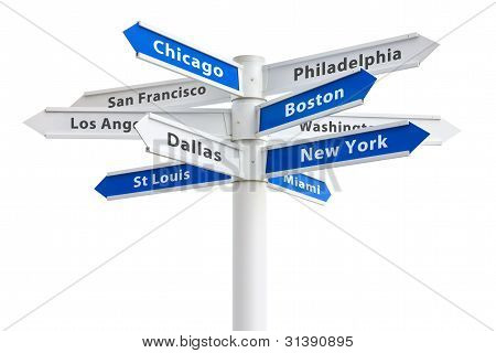 Major Us Cities On A Crossroads Sign