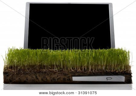 Laptop Computer made out of gras
