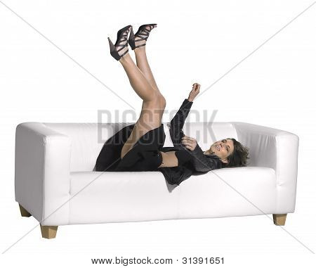 Woman Falling On Couch