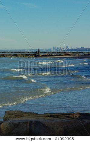 Lake Erie shoreline with Cleveland skyline