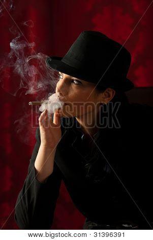 Smoking Woman Looking Away