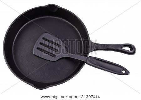Cast Iron Frying Pan On White