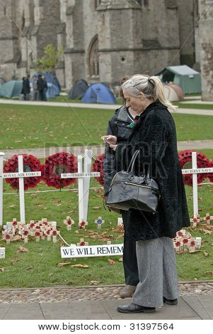 A Woman Stands By The Popies Of Rememberance Onexeter Cathedral Green.