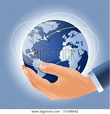 Globe With Airplanes March Routes In A Businessman's Hand
