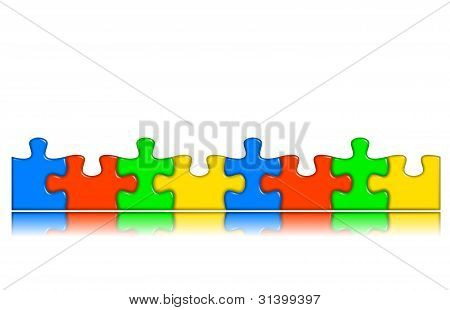 Combined Multi-color Puzzle Pieces With Reflection
