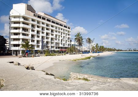 Beach Palm Trees Architecture San Andres Island Colombia South America