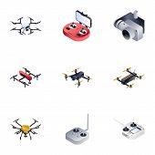 Drone Icon Set. Isometric Set Of 9 Drone Vector Icons For Web Design Isolated On White Background poster