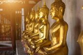 Beautiful Golden Buddha Many Statues At Wat Phra Si Rattana Mahathat Also Colloquially Referred To A poster