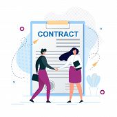 Cartoon Man And Woman Characters Shaking Hands. Agreement To Sign Contract After Successful Business poster