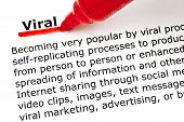 stock photo of epidemic  - The word Viral underlined with red marker on white paper - JPG