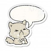 cute cartoon angry cat with speech bubble distressed distressed old sticker poster