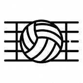 Ball In A Volleyball Net Icon. Outline Ball In A Volleyball Net Icon For Web Design Isolated On Whit poster