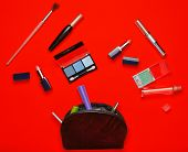 Cosmetic Bag And Womens Cosmetics For Make-up Layout On A Yellow Background. Cosmetic Shadows, Make poster