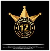 12 Years Anniversary Golden. Anniversary Template Design For Web And Poster poster