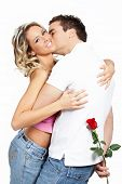 stock photo of loving_couple  - Young love couple smiling - JPG
