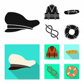 Isolated Object Of Journey And Seafaring Icon. Set Of Journey And Vintage Vector Icon For Stock. poster