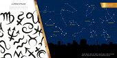 Astrological Celestial Map Concept With Zodiac Signs And Different Constellations On Night Sky Above poster