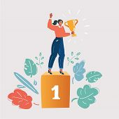 Cartoon Vector Illustration Of Woman Concept Winner Success. Excited Smiling Cartoon Female Hold In  poster