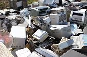 picture of discard  - Piles of home electronics for recycling ecology - JPG