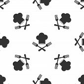 Grey Chef Hat And Crossed Fork Icon Isolated Seamless Pattern On White Background. Cooking Symbol. R poster