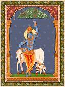 Vector Design Of Vintage Statue Of Indian God Krishna With Vintage Floral Frame Background poster