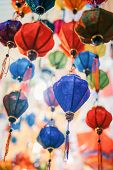 Colorful Of Tradition Lanterns At Chinatown Lantern Market In Saigon, Vietnam. Beautiful Chinese Lan poster