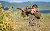 Hunter Hold Rifle. Hunting Permit. Bearded Hunter Spend Leisure Hunting. Hunting Equipment For Profe poster