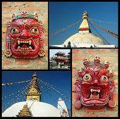 Collage Of Kathmandu Landmarks , Nepal poster