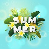 Summer Tropical Vector Design For Banner Or Flyer With Exotic Palm Leaves, Plumeria Flowers And Whit poster